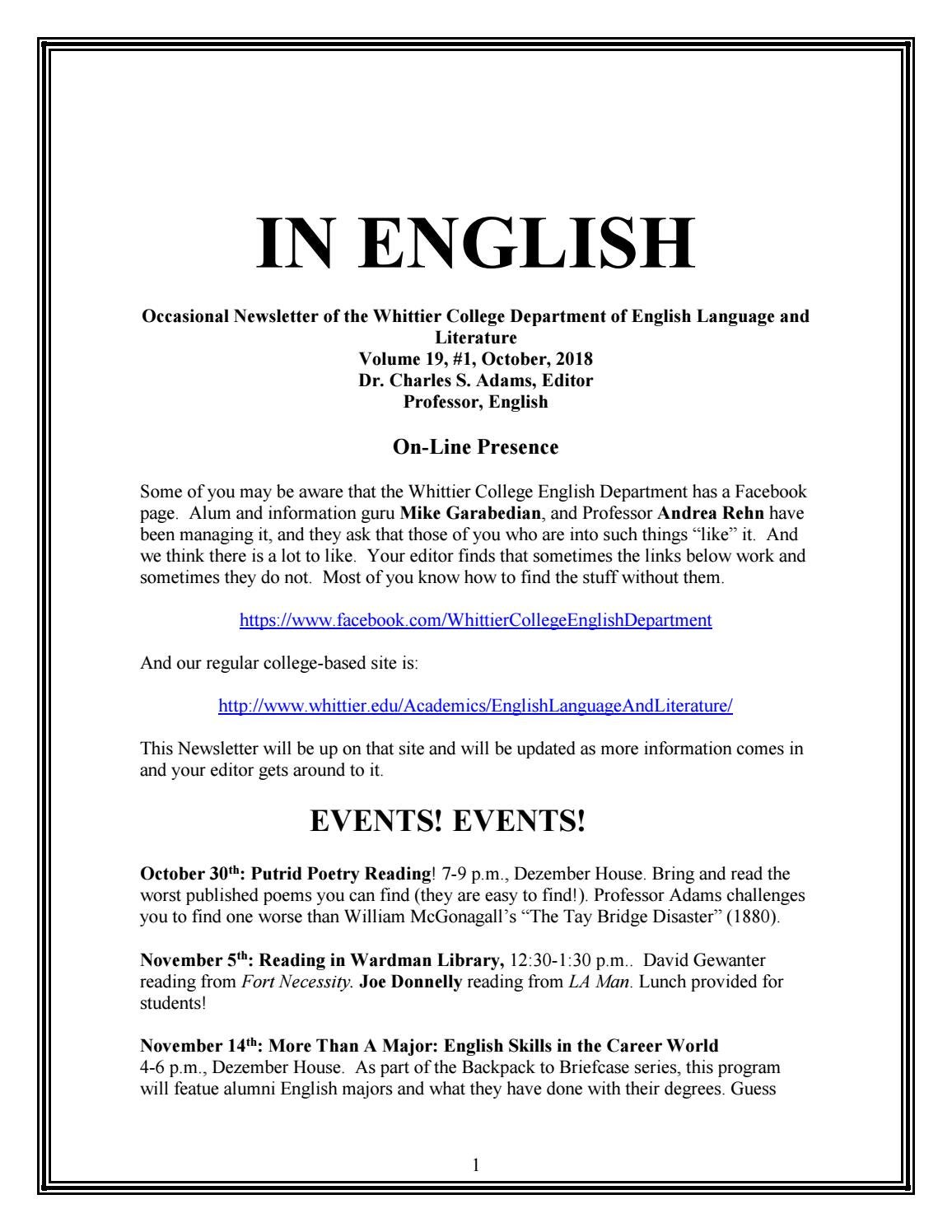 In English Volume 19 #1 by Whittier College - issuu