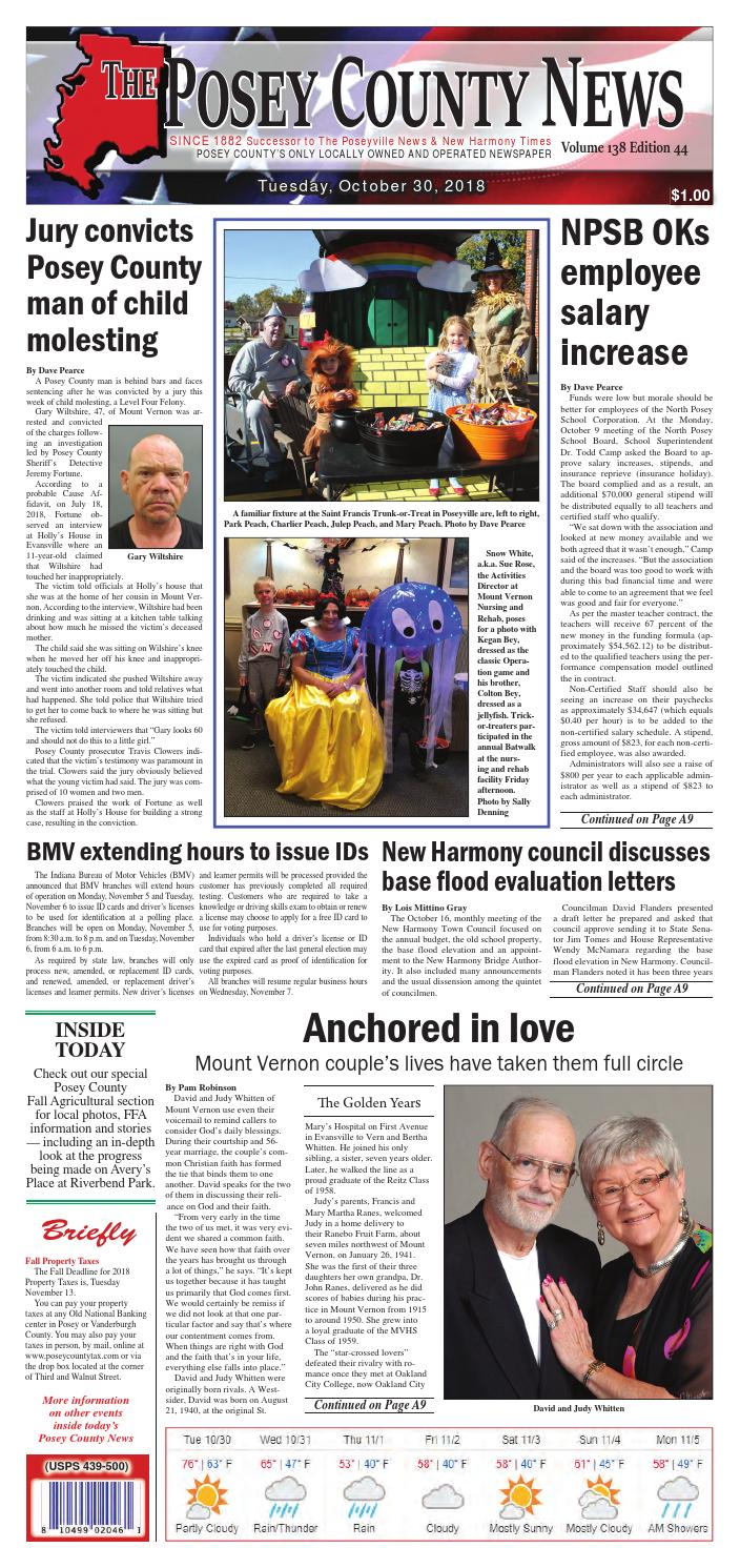 October 30 2018 The Posey County News By The Posey County News