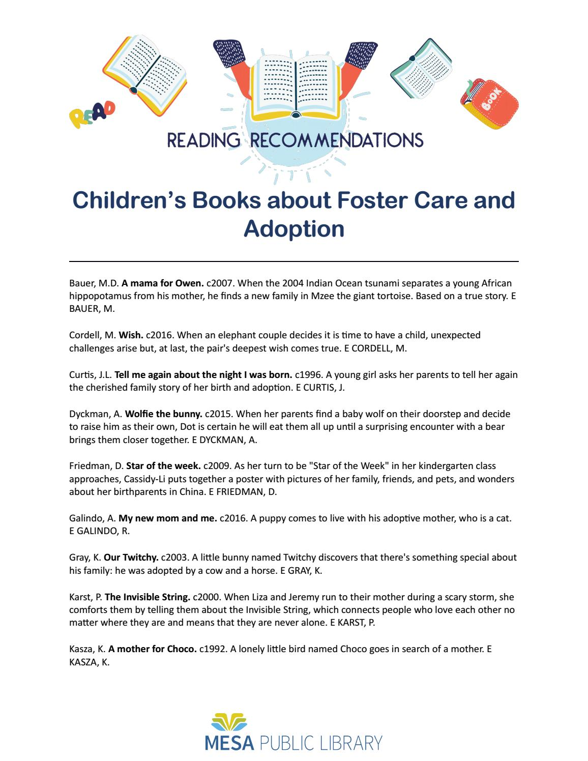 Childrens Books About Foster Care And Adoption By Cityofmesa Issuu