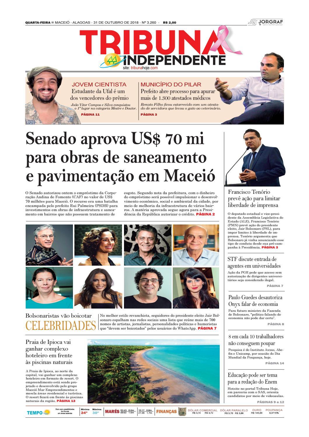 f2566ff8718 Edição número 3260 - 31 de outubro de 2018 by Tribuna Hoje - issuu