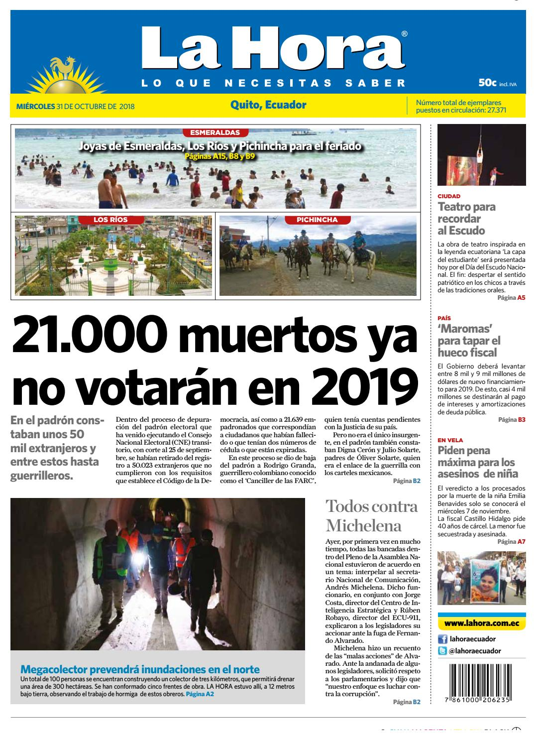 e1bbdbcfe921 Quito 31 de octubre de 2018 by Diario La Hora Ecuador - issuu