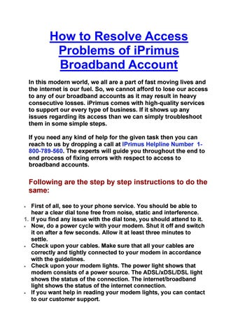 How to Resolve Access Problems of iPrimus Broadband Account by