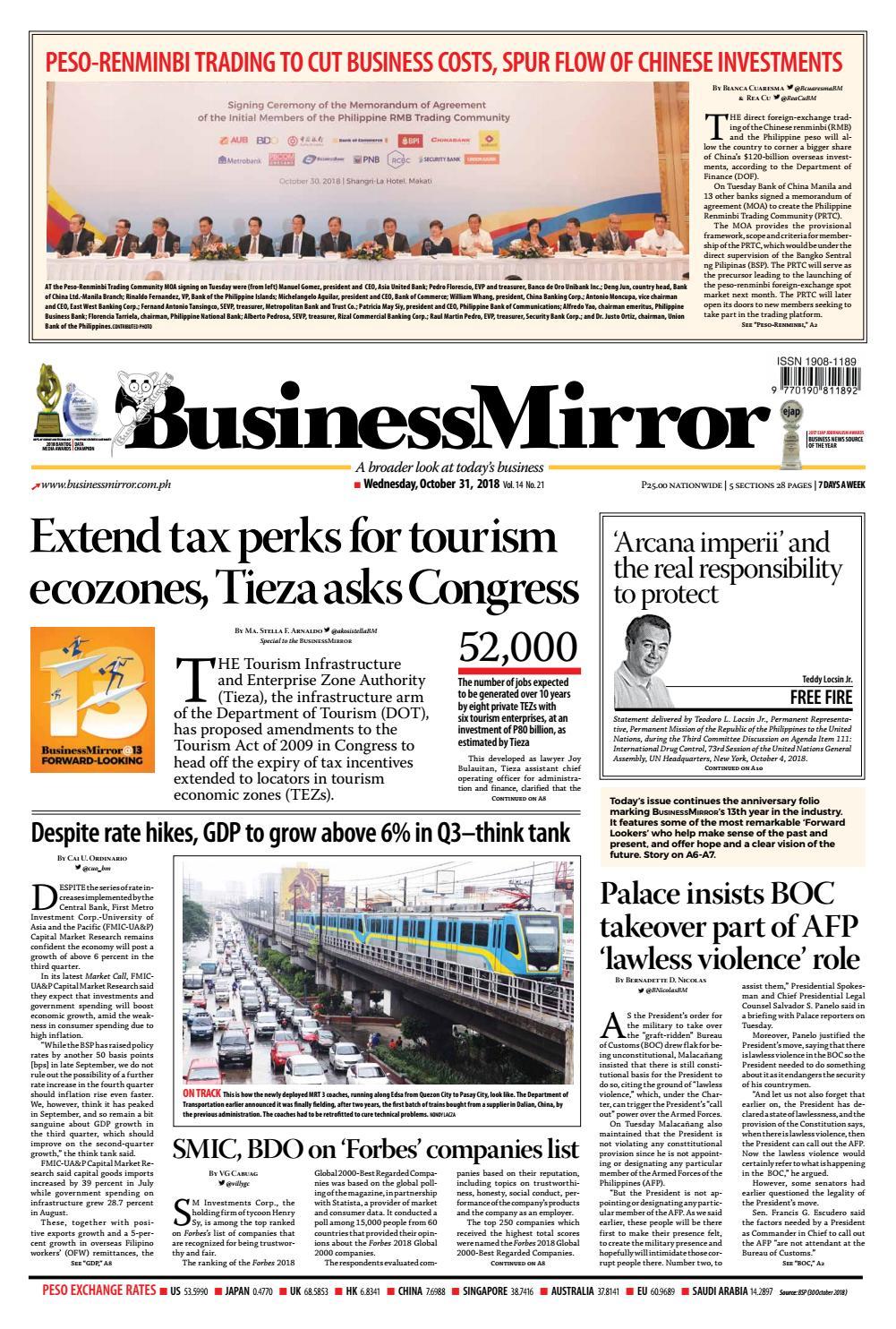 BusinessMirror October 31, 2018 by BusinessMirror - issuu