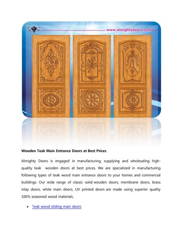 Wooden Teak Main Entrance Doors At Best Prices By