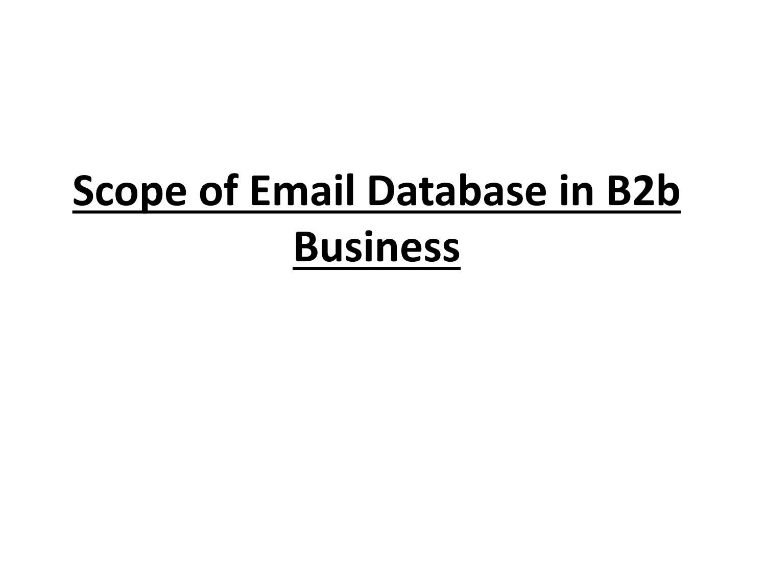 Scope of Email Database in B2b Business