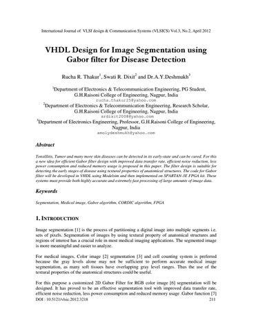 VHDL Design for Image Segmentation using Gabor filter for Disease