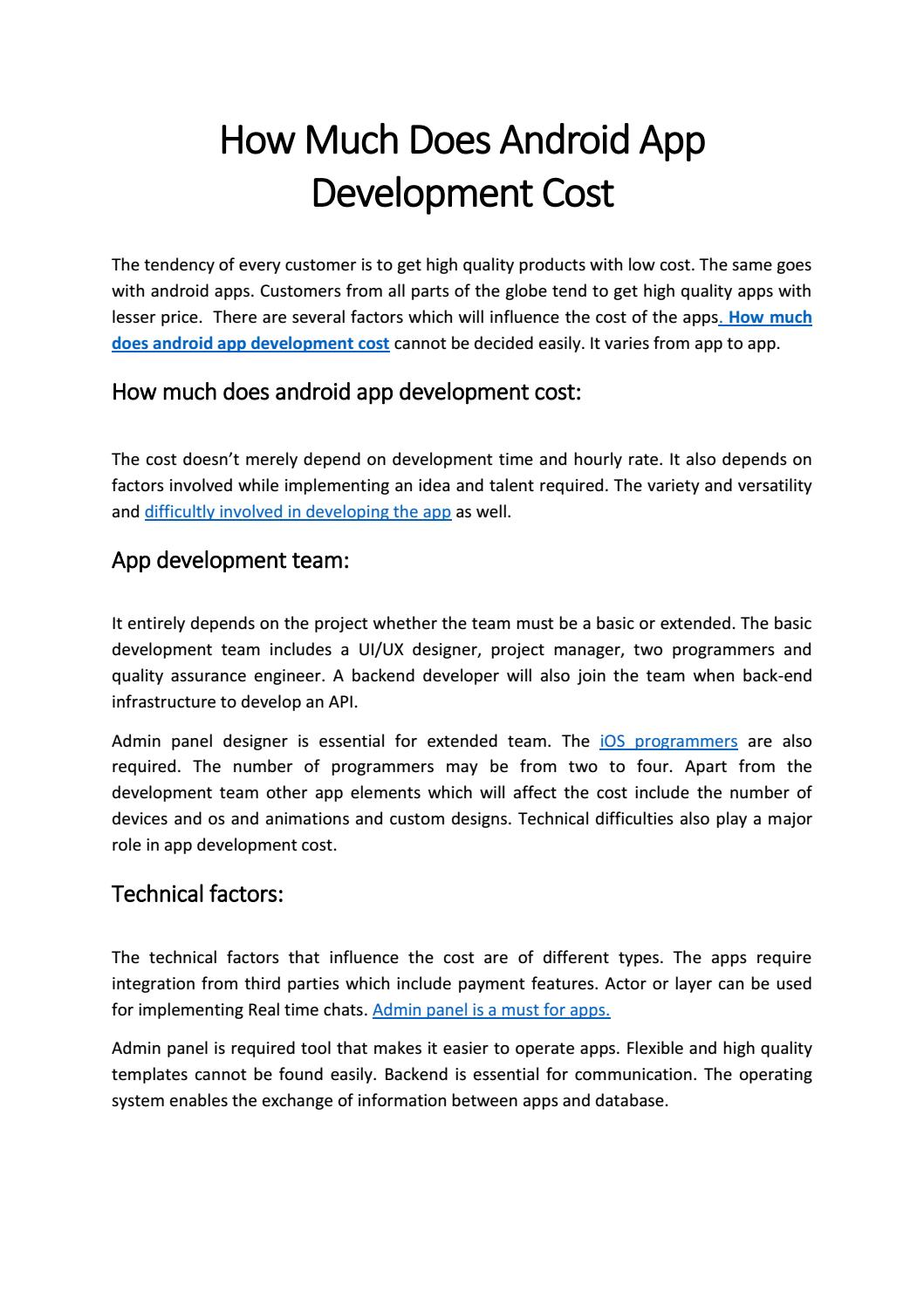 How Much Does Android App Development Cost by jaffaateret