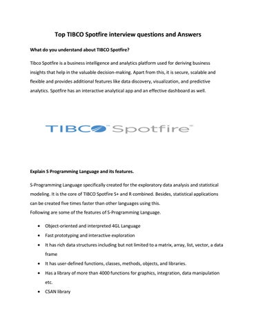 Top TIBCO Spotfire Interview Questions and Answers pdf – IQ