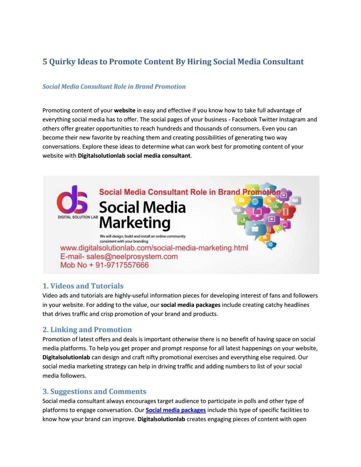 Social Media Consultant Role In Brand Promotion By Neel Pro Issuu