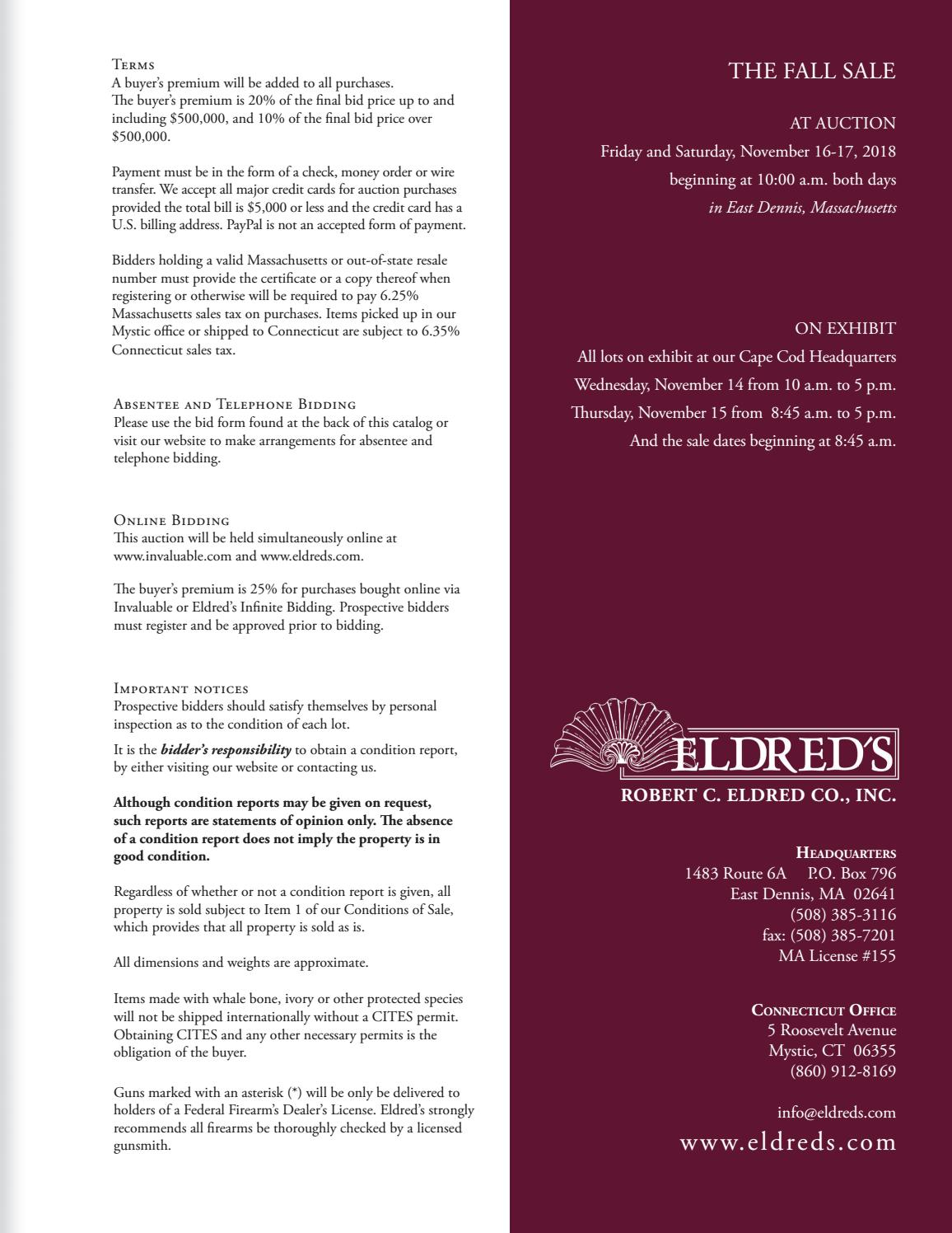 2018 Fall Sale by Eldred's Auction - issuu