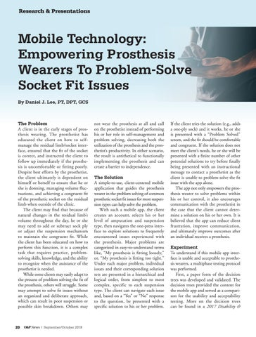 Page 22 of Mobile Technology: Empowering Prosthesis Wearers To Problem-Solve Socket Fit Issues