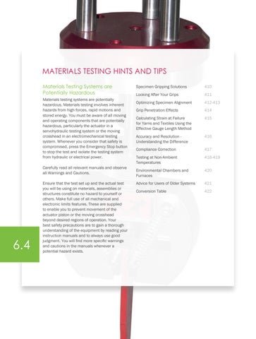 Page 412 of Materials Testing Hints and Tips