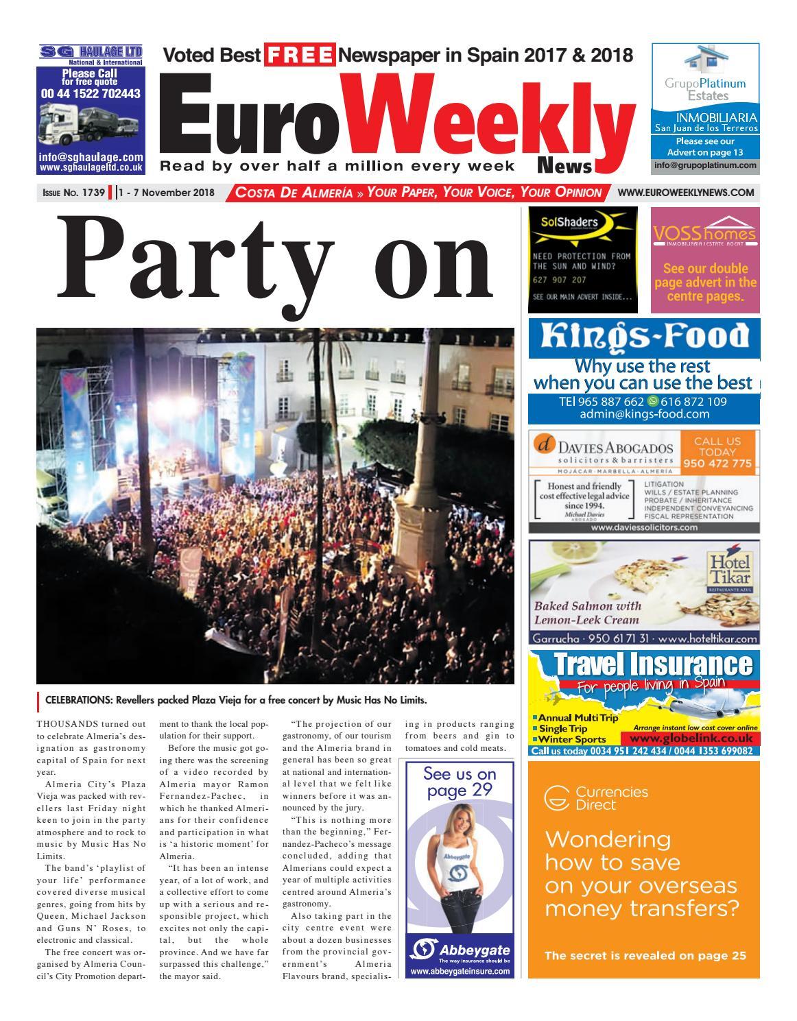 Euro Weekly News Costa de Almeria November 1 7 2018 Issue