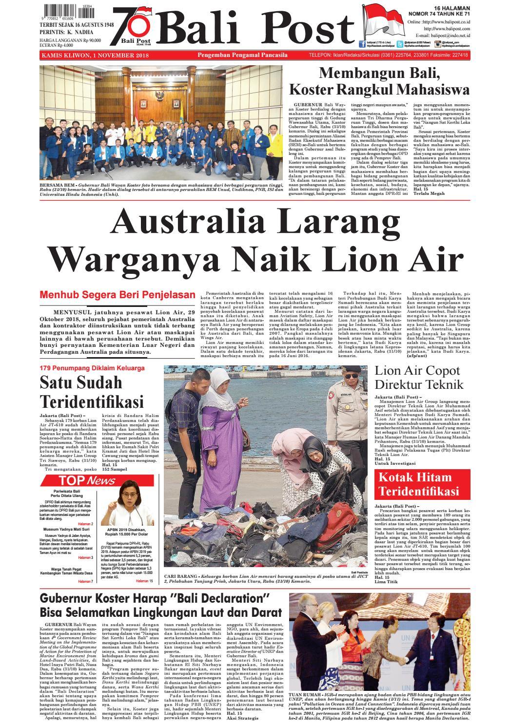 Edisi Kamis 01 November 2018 Balipost Com By E Paper Kmb Issuu