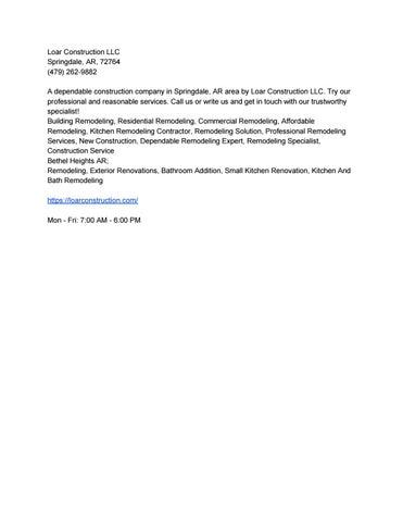 Loar Construction LLC by Loar Construction LLC - issuu