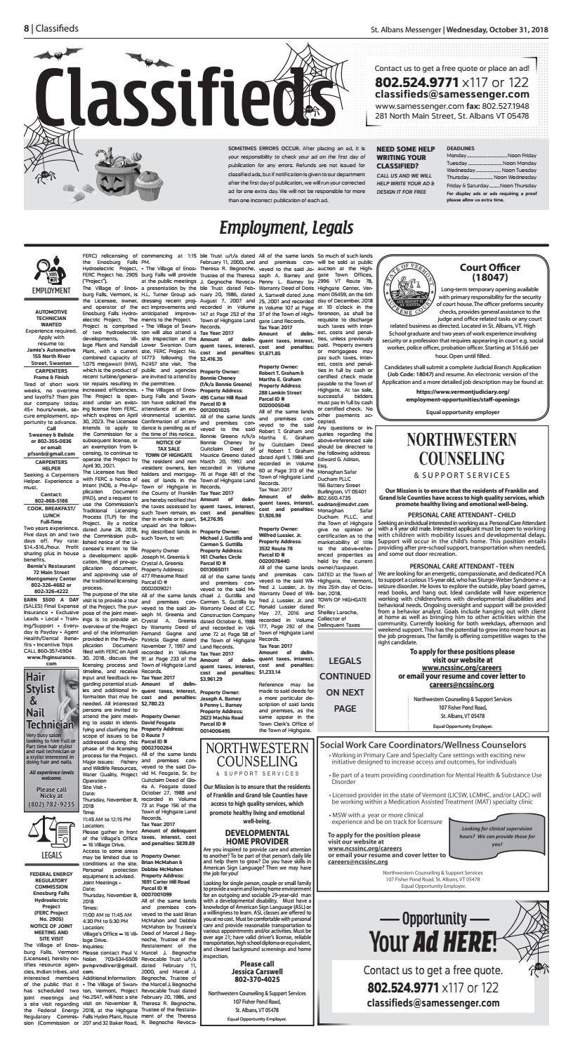 10/31/18 Classifieds by St  Albans Messenger - issuu