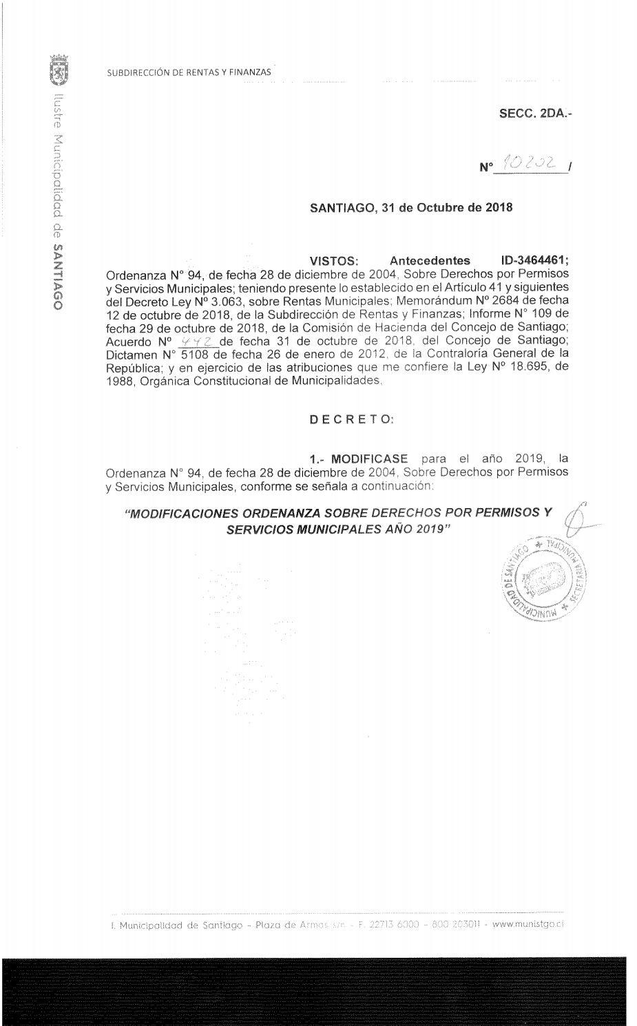 Ordenanza de Derechos Municipales 2019 by Municipalidad de
