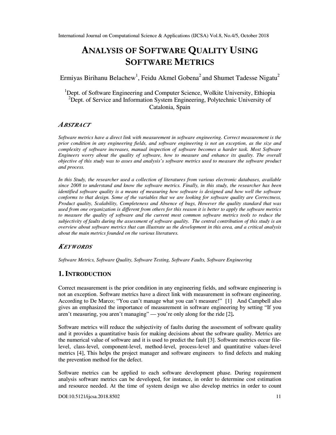 Analysis Of Software Quality Using Software Metrics By Ijcsajournal Issuu