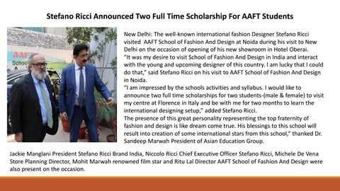 Stefano Ricci Announced Two Full Time Scholarship For Aaft Students By Anil Prajapati Issuu