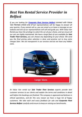 d7b97614f7 Best Van Rental Service Provider in Belfast If you are looking for  Corporate Fleet Services Belfast connect with Value Van Rentals where one  of our ...