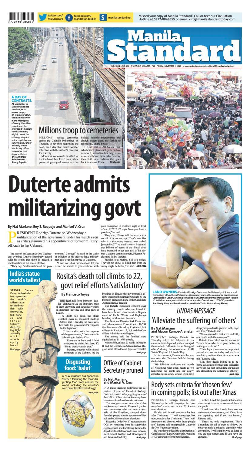 Manila Standard - 2018 November 2 - Friday by Manila