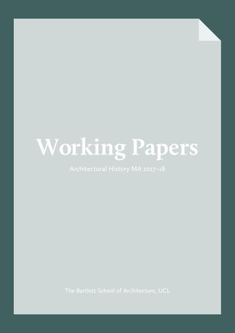 Working Papers Architectural History Ma 2017 18 By The Bartlett