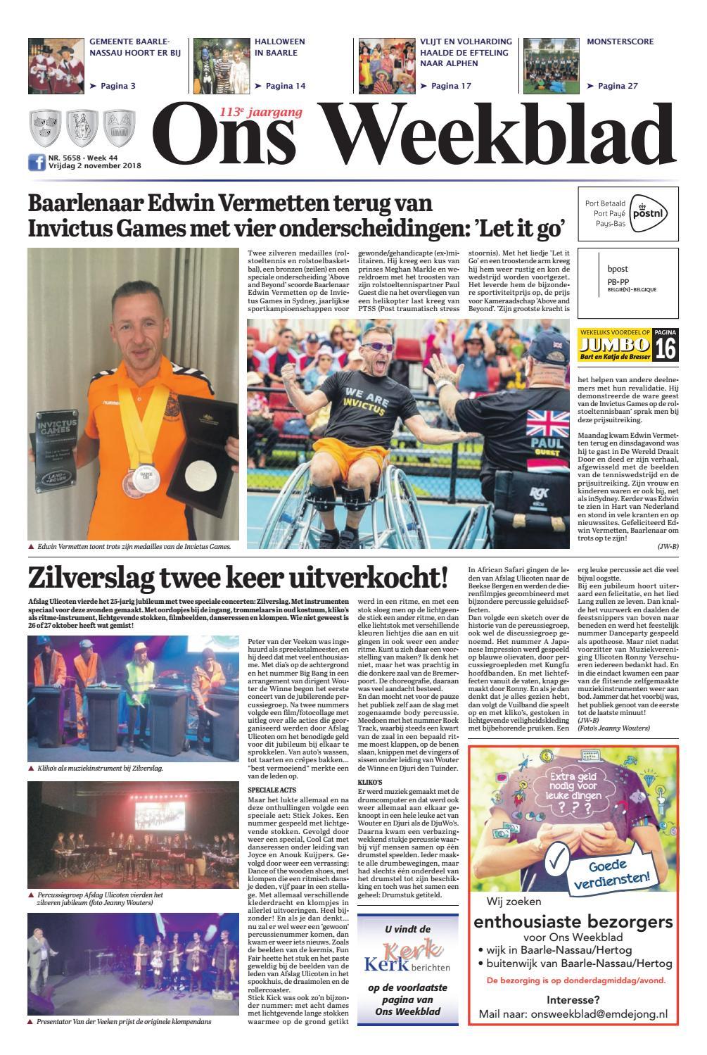 857c9e3a2d0 Ons Weekblad 02-11-2018 by Uitgeverij Em de Jong - issuu