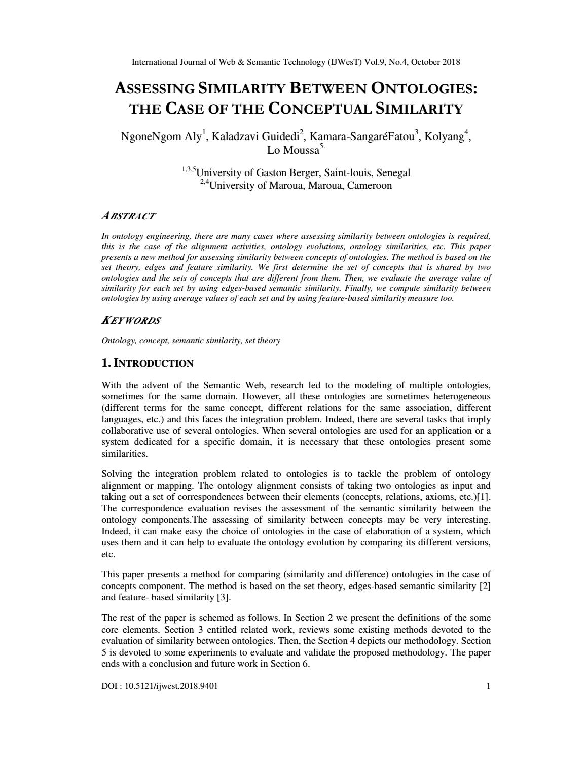 ASSESSING SIMILARITY BETWEEN ONTOLOGIES: THE CASE OF THE CONCEPTUAL