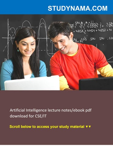 Artificial Intelligence Lecture Notes Pdf