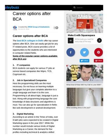 Best options after bca