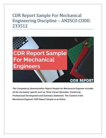 MECHANICAL ENGINEER CDR REPORT SAMPLE By Alexwilson125 Issuu
