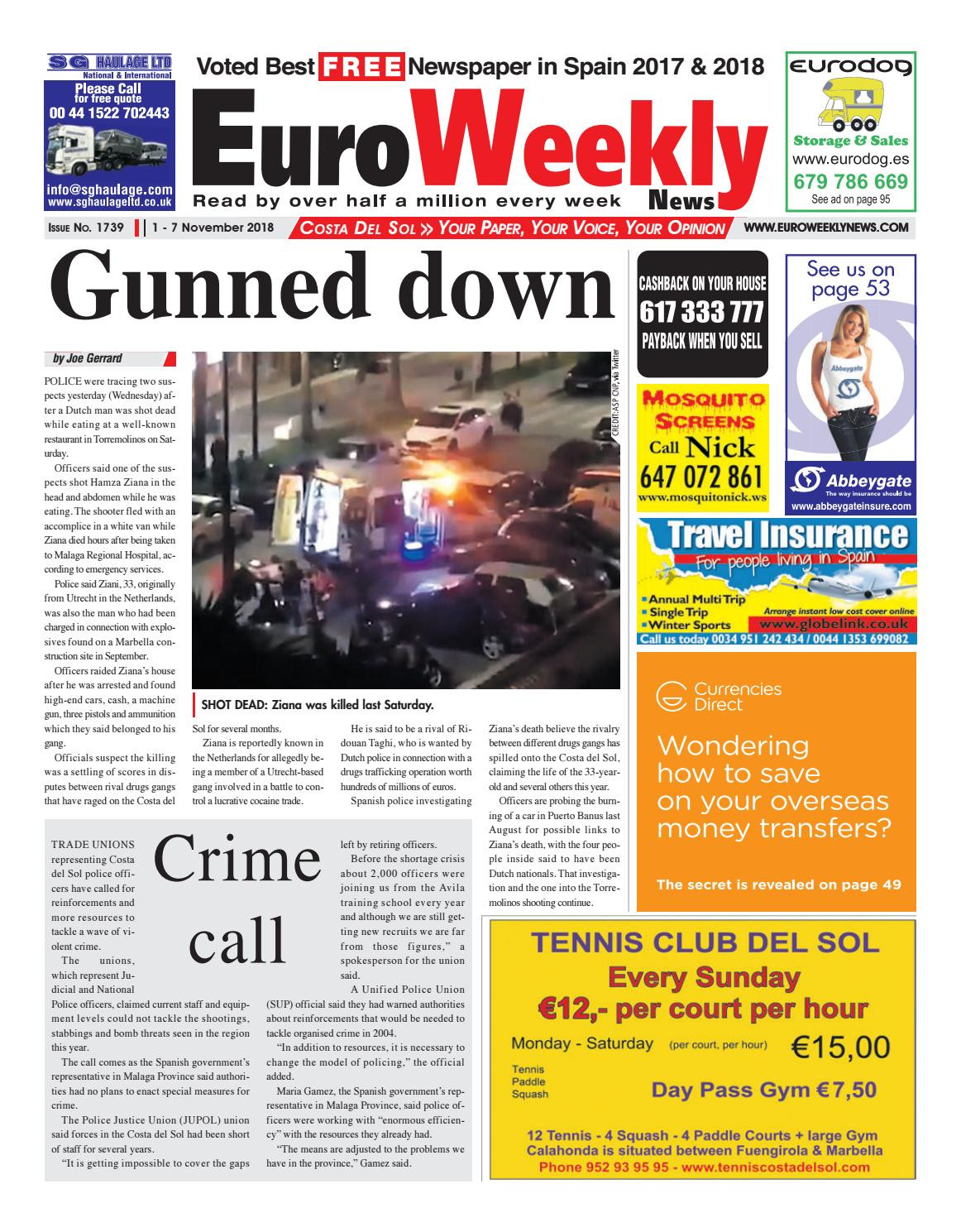 21aeef8509 Euro Weekly News - Costa del Sol November 1-7 2018 Issue 1739 by Euro  Weekly News Media S.A. - issuu