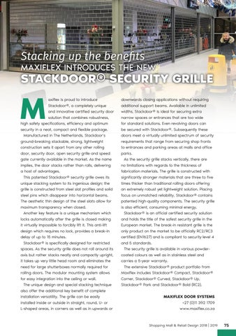Page 75 of Stacking Up The Benefits: Maxiflex Introduces the New StackDoor Security Grille
