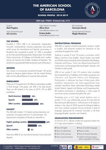 School Profile 2018-19 - American School of Barcelona by