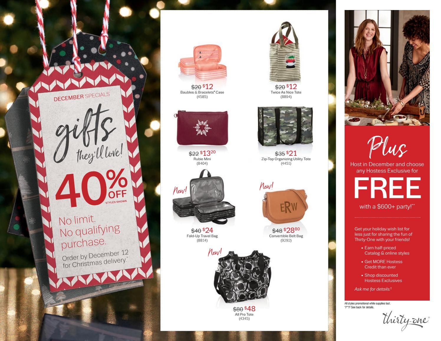 Thirty One Gifts December Customer Special 2018 By Kristinmoses Issuu
