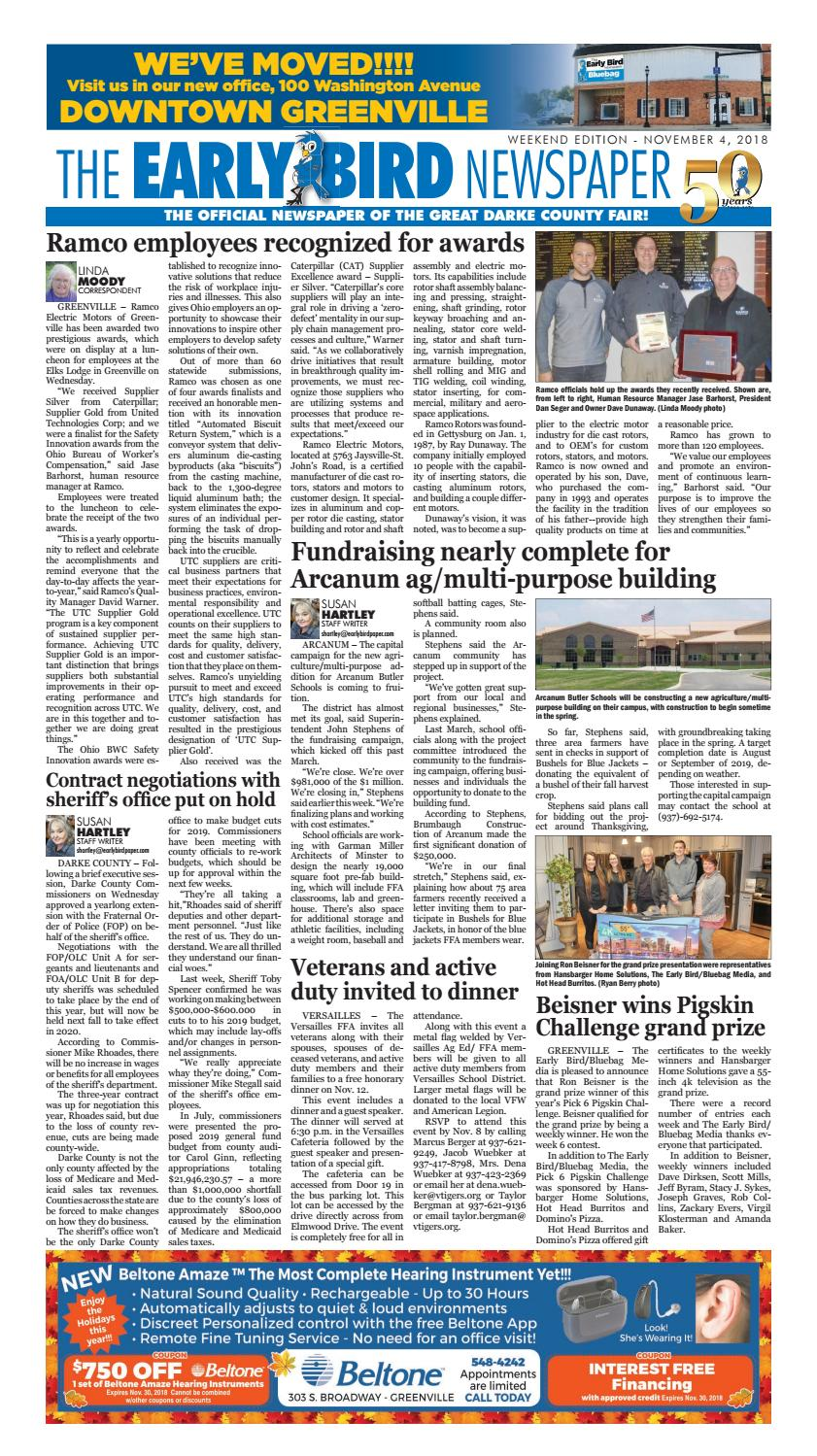 Early Bird Newspaper 110418 By The