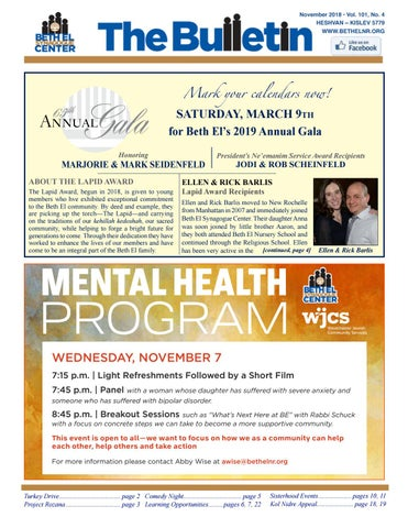November 18 Bulletin By Beth El Synagogue Center Issuu