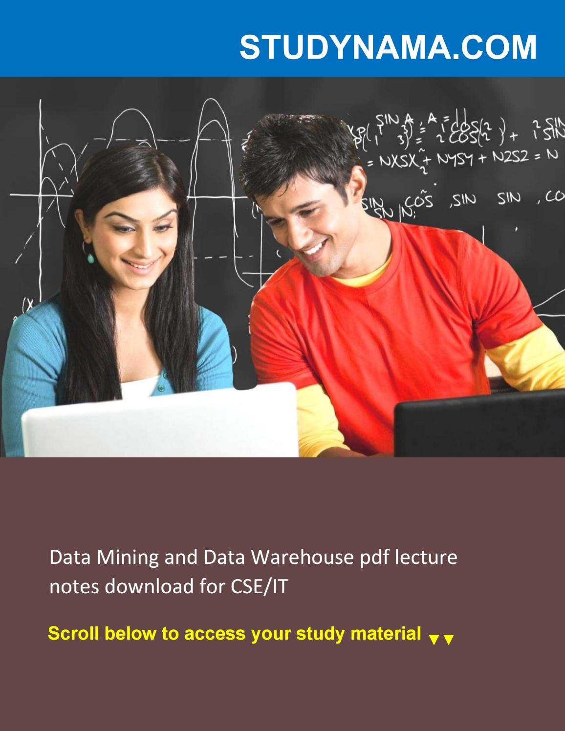 Data Mining and Data Warehouse pdf lecture notes download