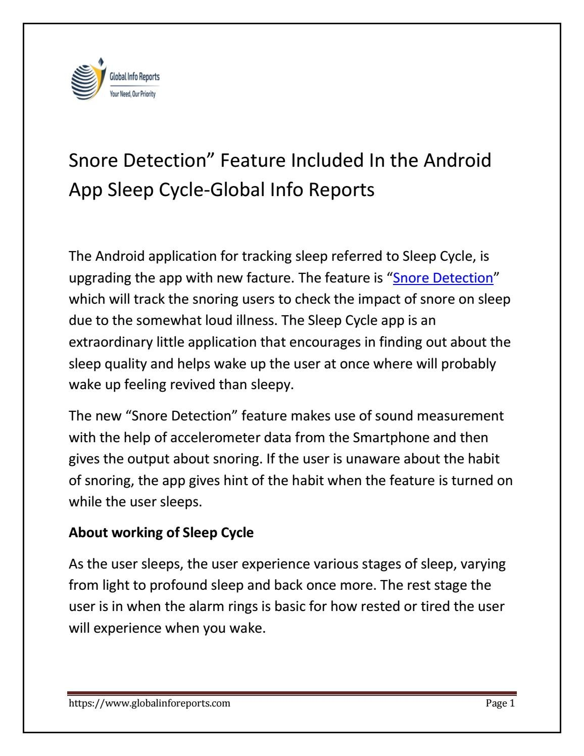 "Snore Detection"" Feature Included In the Android App Sleep Cycle"