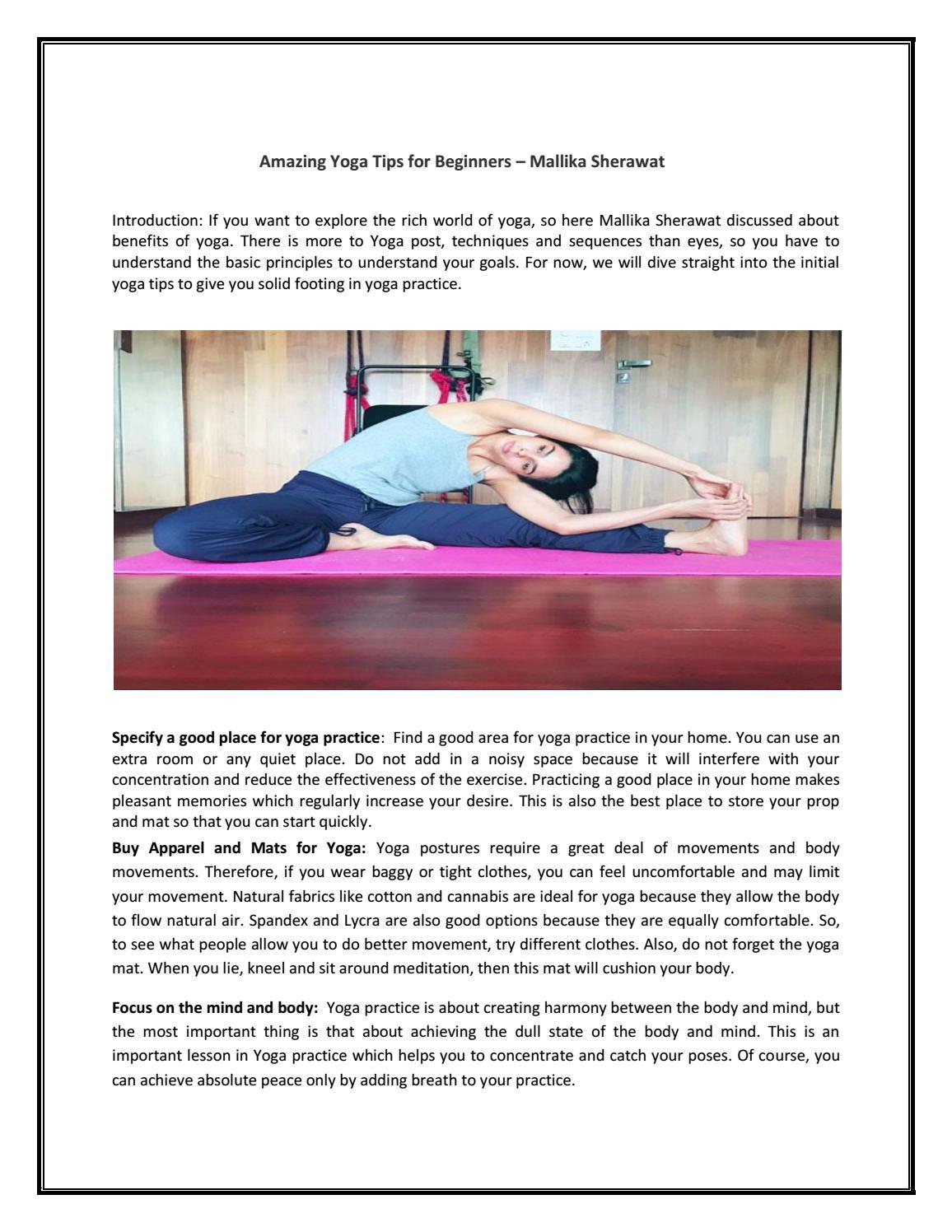 Amazing Yoga Tips For Beginners Mallika Sherawat By Latestbollywoodtrendsb Issuu