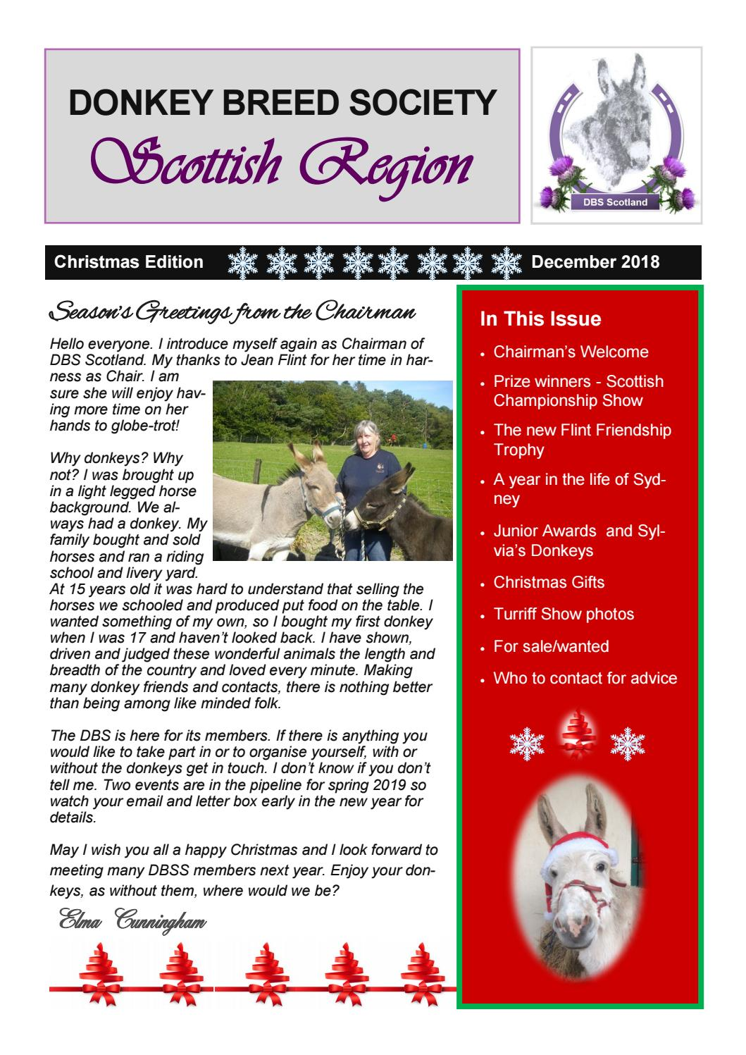 Donkey Breed Society Scotland - Christmas Newsletter 2018 by ...