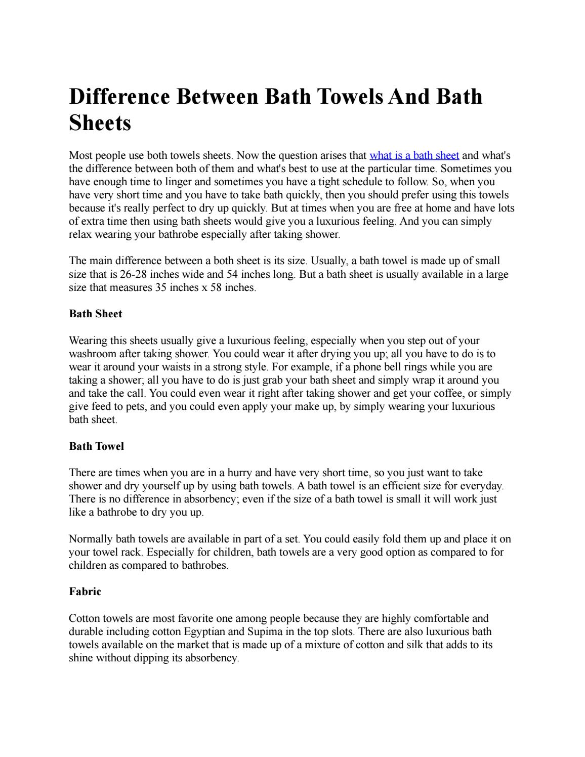 Difference Between Bath Towels And Bath Sheets By Joe Smith Issuu