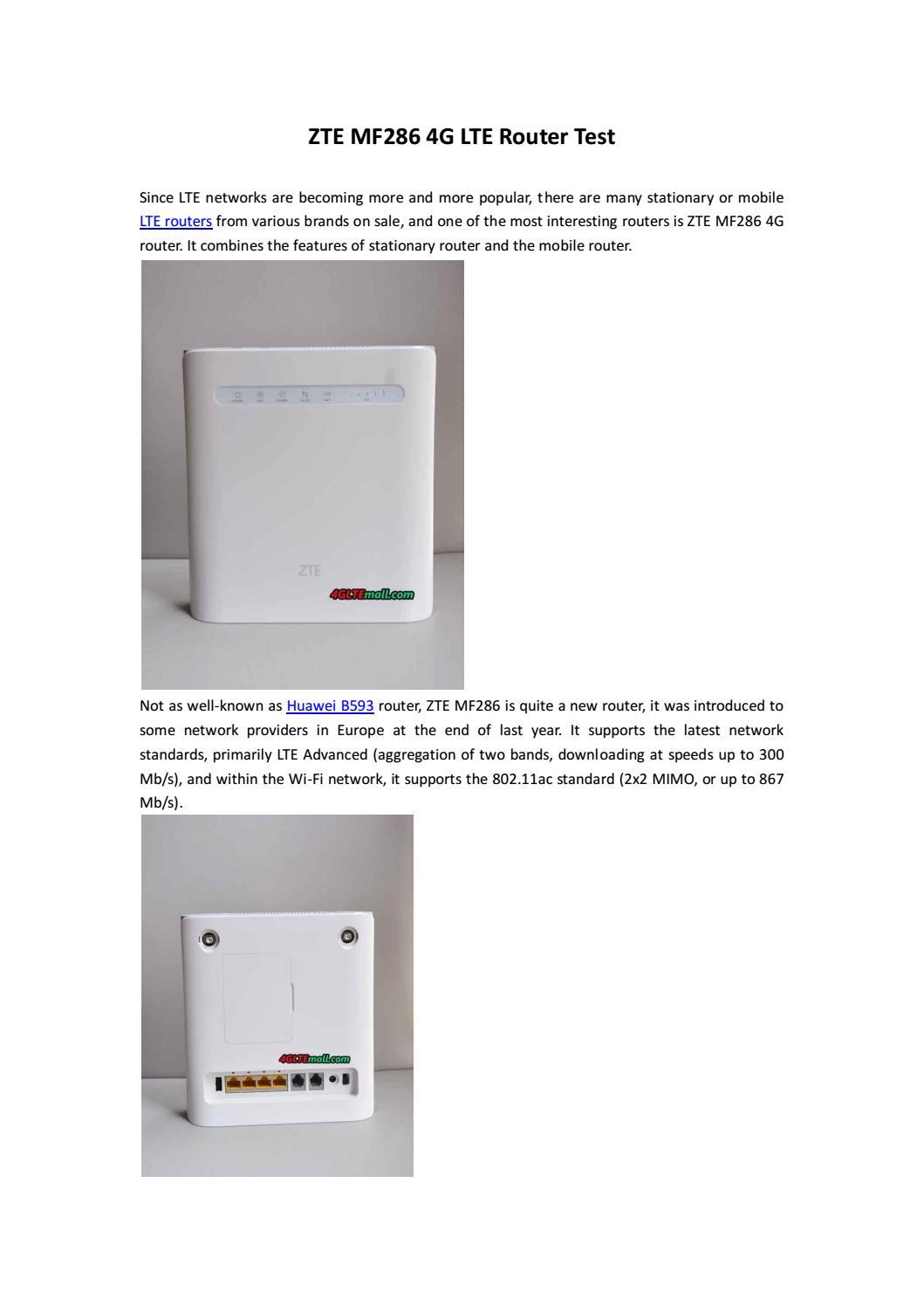 Zte Mf286 4g Lte Router Test By Lte Mall Issuu