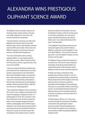 Page 12 of Alexandra wins prestigious Oliphant Science Award