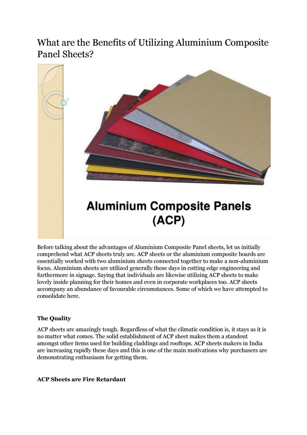 What are the Benefits of Utilizing Aluminium Composite Panel Sheets?