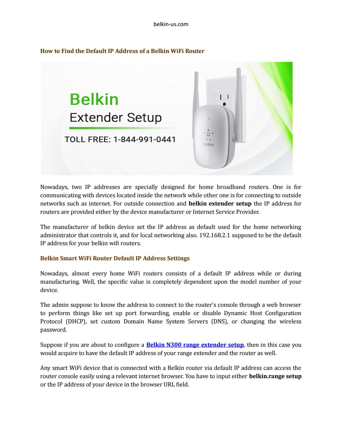 How to Find the Default IP Address of a Belkin WiFi Router by henrykaif54 -  issuu