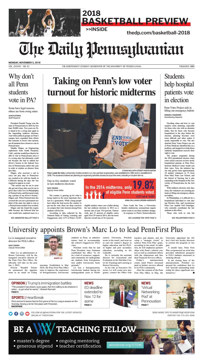 November 5, 2018 by The Daily Pennsylvanian - issuu