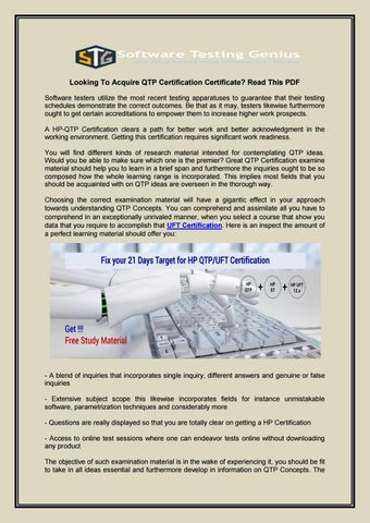 Looking To Acquire QTP Certification Certificate Read This PDF by