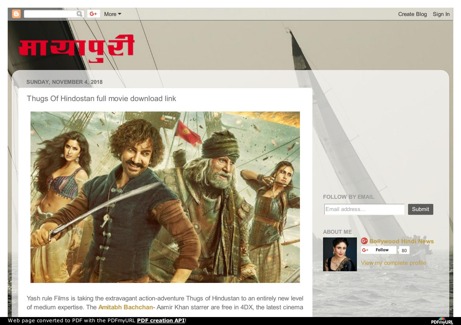 Thugs Of Hindostan full movie download link