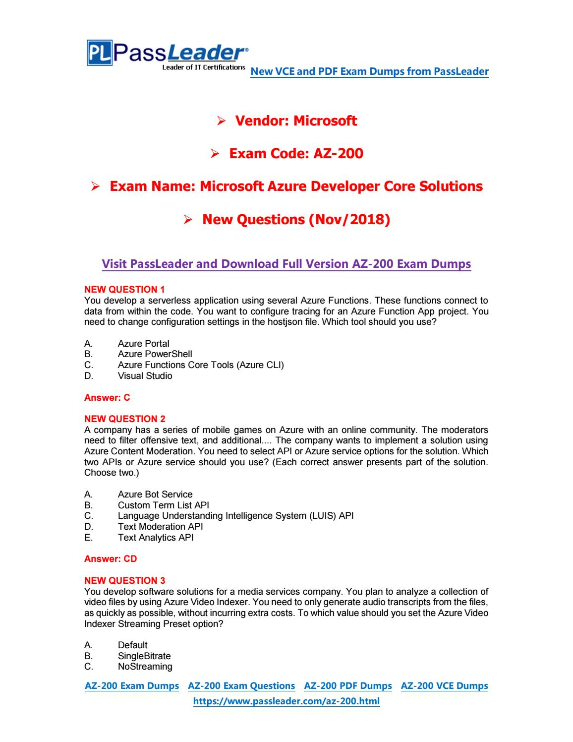 2018 New AZ-200 Dumps with PDF and VCE (Updated Question-Part A) by
